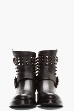VALENTINO black Studded Leather Biker Boots