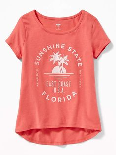 Old Navy Sunshine State Florida Tee for Girls Tree Graphic, Graphic Tees, Florida Palm Trees, East Coast Usa, Great Logos, Shop Old Navy, Sunshine State, Graphic Design Inspiration, Short Sleeves