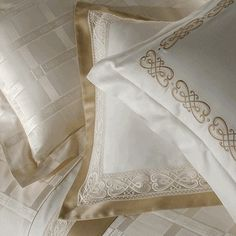 White Linens Embellished With Gold <3