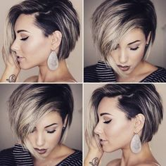 Short Hair With Layers, Short Hair Cuts For Women, Short Hair Styles, Short Hair For Round Face Plus Size, Hair Color And Cut, Haircut And Color, Cool Short Hairstyles, Short Asymmetrical Hairstyles, Short Hair Undercut