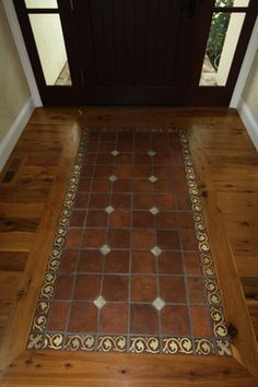 wood floor inlay design wood floor with tile inlay design ideas pictures - Tile Floor Design Ideas