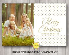 Christmas Photo Card Gold Polkadots Elegant