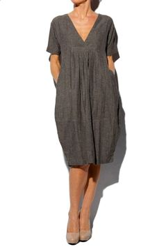 Organic Grey Nanny Fitted Dress --- it looks sooo comfortable ! Formal Dresses With Sleeves, Linen Dresses, Short Sleeve Dresses, Short Sleeves, Maxi Dresses, Sleeveless Dresses, Cheap Dresses, Wedding Dresses, Long Sleeve