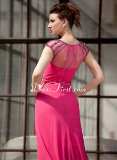 Vestidos princesa/ Formato A Decote redondo Vestidos longo Tecido de seda Tule Vestidos de festa com Pregueado Bordado (017022865) - DressFirst