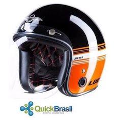 Capacete Custom Old School Lucca Black Orange+ Viseira Bolha - R$ 449,99 em Mercado Livre