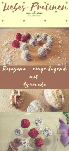 Sämtliche Zutaten dieser leicht selbst zu machenden Pralinen gelten im Ayurveda als Rasayanas - also verjüngend oder lebensverlängernd...  Rezept und Wirkung gibt es auf dem Blog... Süßes ohne Zucker * statt Kuchen * für den Kaffeetisch * Potenzsteigernd * verjüngend * aphrodisierend #ayurveda #aphrodisiaka #ewigejugend #antiaging #yogalifestyle #mamarezept
