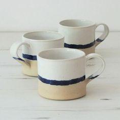 Handmade ceramic mug, pottery mug, blue and white glaze, unglazed base, coffee… Ceramic Tableware, Ceramic Clay, Ceramic Painting, Pottery Mugs, Ceramic Pottery, Pottery Art, Amaco Glazes, Ceramic Coffee Cups, Tea Mugs