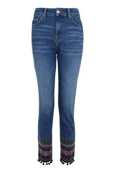 MOTO Embroidered Hem Straight Leg Jeans
