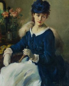 """An Elegant Woman"" by Fernand Toussaint (1873-1955)."