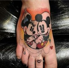 Mickey and Minnie Mouse Tattoo Design. Mickey Tattoo, Disney Tattoos, Disney Foot Tattoo, Mickey And Minnie Tattoos, Mickey E Minie, Cartoon Tattoos, Baby Name Tattoos, Tattoos With Kids Names, Sweet Tattoos