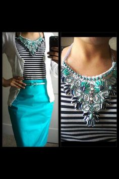 Turquoise pencil skirt, striped top, cardigan, bib necklace. Modest fashion