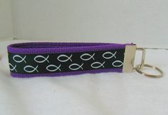 Christian Fish Keychain  Purple Key Chain  by CreativeJenV on Etsy (Accessories, Keychains & Lanyards, Keychains, keychain, key fob, wristlet keychain, handmade, fabric key fob, fabric keychain, keychain fob, christian fish, christian key fob, christian keychain, christian key chain, fish key fob, faith key ring)