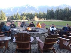 Writing and responding around the fire pit - what a view! We almost always do triads or groups of three - small enough so everyone gets response in 45 minutes, large enough so that everyone gets multiple responses.