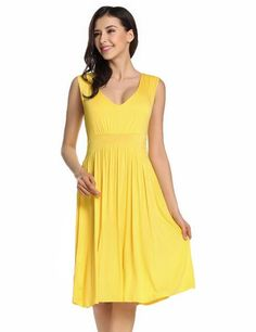 Yellow V-Neck Sleeveless Solid Fit and Flare Casual Dress