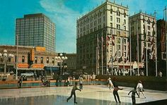 Ice Skating Zeckendorf Plaza Denver 1960!!...my very favorite thing to do during Christmas downtown Denver in the 60s!...along with the magical animated  Santa's little elfs in the windows of The Denver Dry...b♡