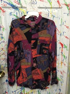 Mens Vintage long sleeve button down Rayon shirt 80's by RagsAGoGo