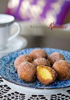 Sweet Potato Rice Flour Doughnuts (gf): sweet potatoes, rice flour, sugar, salt, baking powder, milk, oil for frying, and cinnamon sugar for dusting.