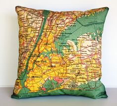 Decorative pillow map NEW YORK eco friendly organic cotton map cushion cover, pillow cover, atlas, vintage map, 16 inch, 41cm on Etsy, $51.95