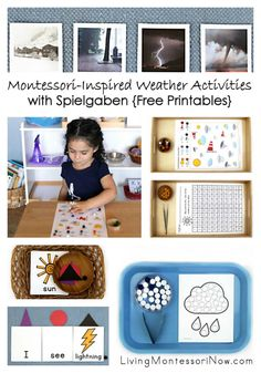 Montessori-inspired weather activities for a variety of ages prepared using free weather printables and Spielgaben dots; perfect for home or classroom.