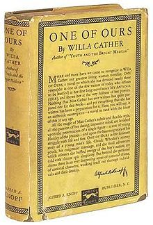 First edition of One Of Ours by Willa Cather, 1922.
