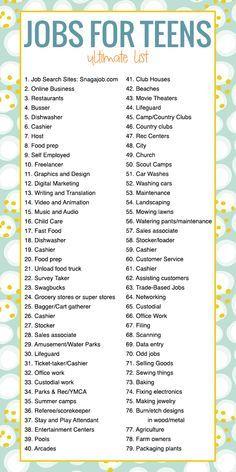 84 List Of Jobs Ideas List Of Jobs Job Jobs For Teens
