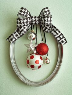 Silver Christmas Frame Wreath w/ ornaments by WhimsicalWaresbyO