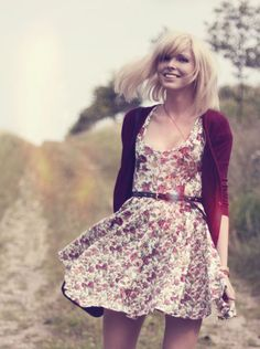 floral dress. love the maroon which is really in right now.