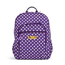 Campus Backpack in Purple/White Mini Concerto with LSU Logo | Vera Bradley