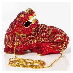 JUDITH LEIBER Swarovski Crystal Ming Dragon Minaudiere Clutch ❤ liked on Polyvore featuring bags, handbags, clutches, evening purses, evening handbags, red evening purse, gold handbags and kiss-lock handbags