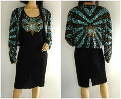 80s Art Deco Silk Sequin Dress and matching jacket by sixcatsfunVINTAGE, #trophydress