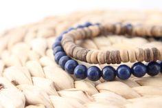 Men's Jade & Coconut Bracelet Set / Navy Jade by BeauBishop, $27.50