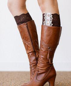 Dark Brown Lace Boot Cuffs - Women #zulily #zulilyfinds