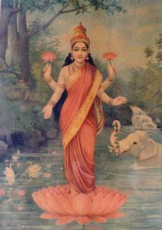 Lakshmi by Raja Ravi Varma Lakshmi, Krishna's Shakti. Goddess of… Hindu Deities, Hinduism, Indian Gods, Indian Art, Raja Ravi Varma, Indian Literature, Hindu Art, Shiva Art, Krishna Art