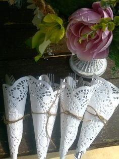 Wedding Silverware silverware holder shabby chic by SageSensations Shabby Chic Decor Living Room, Shabby Chic Bedrooms, Shabby Chic Homes, Wedding Silverware, Silverware Holder, Shabby Chic Paper, Vintage Shabby Chic, Paper Doilies, Paper Lace