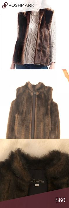 Fabulous Furs Sable Faux Vest Sable faux fur vest with hook and eye closure. So elegant and classy. Wonderful condition with just some wear around arm pit. Size small but it seems to fit everyone- I am a 36D and it fit beautifully. Fabulous Furs Jackets & Coats Vests