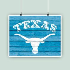 Texas art longhorn symbol Texas State print by PrintCorner on Etsy