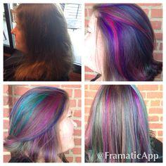 Hair ribbons using pravana vivids done at junction salon by Megan perry