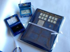 Doctor Who Wedding Package. TARDIS Wedding Ring Box With Light, Starry Night Ring box, and TARDIS Wedding Guest Book.
