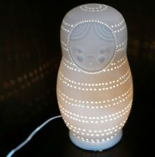 Ceramic Russian Doll Lamp in white ,perfect for kids room , Babushaka Lamp