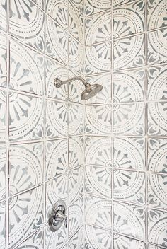Bathroom Shower Tile Ideas and Inspiration Elevate a basic color scheme with an intricate design to capture the eye; these patterned tiles will transform your bathroom. For more bathroom and small space design ideas visit Domino. Decoration Inspiration, Bathroom Inspiration, Interior Inspiration, Bathroom Ideas, Bathroom Renovations, Decor Ideas, Remodel Bathroom, Shower Remodel, Bathroom Styling