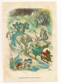 Vintage Print Illustration Page Plate Paper Ephemera Snow Queen Fairy Tale Andersen book Children Story Old Victorian Antique