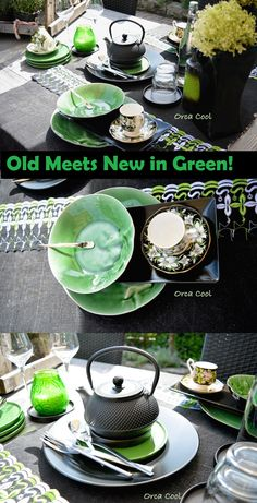 Old Meets New in Green!   #serviesgoed #vintage #Porselein | Orca Cool  http://www.orcacool.nl/details/53877/old-meets-new-in-green-.html