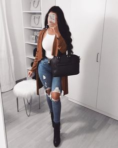 Fall turns me into a fashionista Shop 'SHEIN Waterfall Collar Self Belted Coat' link in bio. Dressy Casual Outfits, Chic Winter Outfits, Basic Outfits, Casual Winter Outfits, Classy Outfits, Trendy Outfits, Cute Outfits, Fashion Outfits, Summer Outfits