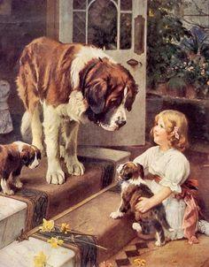 Vintage Arthur John Elsley Victorian Art Print Here He Comes W/ St Bernard St Bernard Dogs, Vintage Dog, Victorian Art, Canvas Prints, Art Prints, Dog Paintings, Animals For Kids, Dog Art, Poster Prints