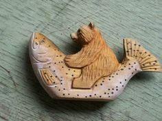 Alaskan Bear riding a Trout by rustyitems on Etsy, $25.00