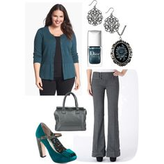 """""""Plus Size for Work in Teal and Gray"""""""
