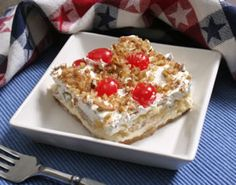 NO-BAKE Banana Split Dessert 2 c graham cracker Crumbs 1/2 c melted butter 2 c powdered sugar 3/4 c softened butter 4 bananas 1 can crushed pineapple (regular can) 1 Cool Whip (8 OZ) 1/2 c maraschino cherries 3/4 c chopped nuts Mix the crumbs and melted butter for crust and spread into 9x13 pan, REF. Beat next 2 Ingr with mixer 15 min. Spread over crust, refr 5 minutes. Cover with thinly sliced bananas and top with pineapple. Cover with cool whip and sprinkle cherries N nuts on top. cHILL.