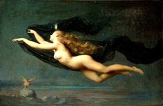 La Nuit - Goddess of the night by Auguste Raynaud 1854 - 1937 Lyon France  Exhibited: 1887, Paris Salon