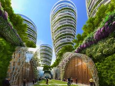 """Image 1 of 19 from gallery of Vincent Callebaut's 2050 Vision of Paris as a """"Smart City"""". View of the comprehensive city plan. Image Courtesy of Vincent Callebaut Architecture Green Architecture, Futuristic Architecture, Sustainable Architecture, Amazing Architecture, Chinese Architecture, Sustainable City, Sustainable Design, Future City, Ville Durable"""