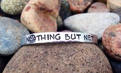 Nothing But Net - Basketball Hand Stamped Aluminum Cuff Bracelet, Sports Jewelry